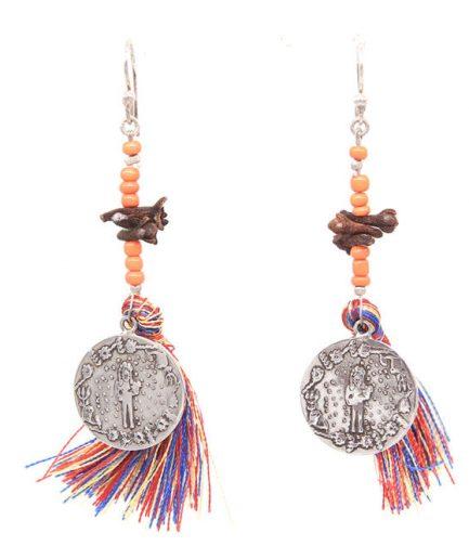 Multicoloured Tassel Noor Earrings (Orange Beads)