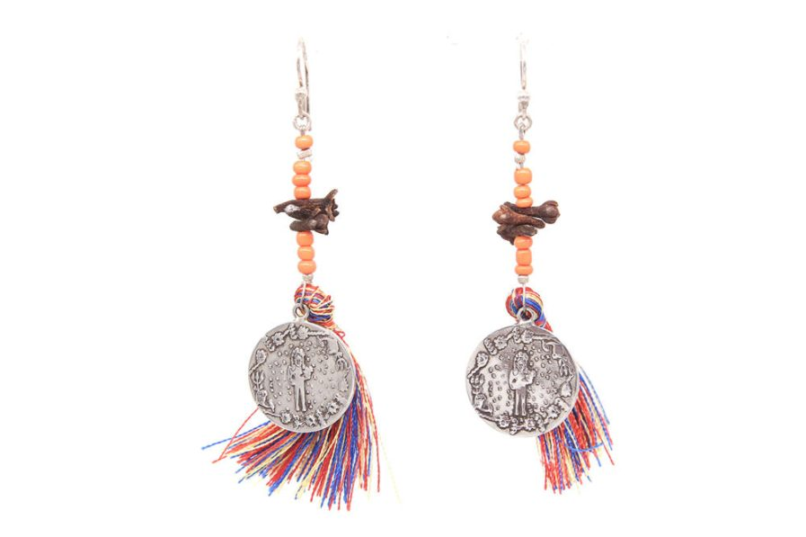 Multicoloured Tassel Noor Earrings (Orange Beads)