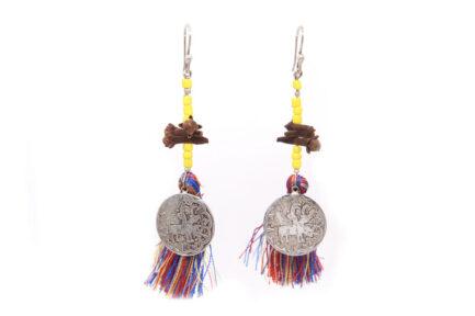Multicoloured Tassel Noor Earrings (Yellow Beads)