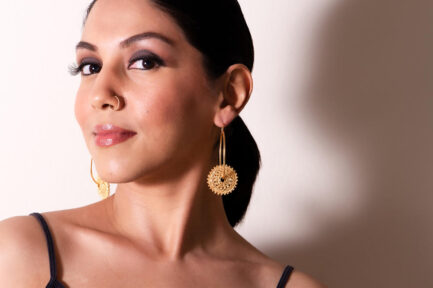 Oval Hoops With Filigree Disc Gold Plated