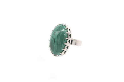 Oval Malachite In Prong Setting 3