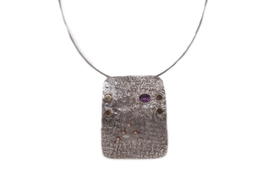 Reticulated Rectangle and Amethyst in Chain