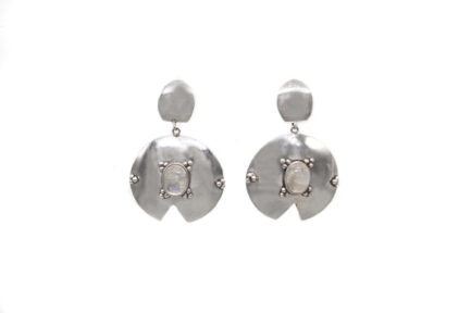 Round Moonstone with Granules Earrings