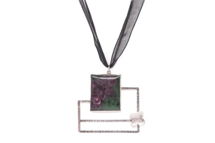 Ruby Zoisite Frame In Black Ribbon