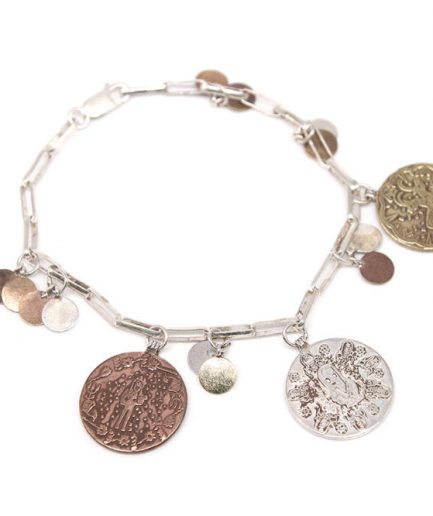 Silver Chain Coin Bracelet