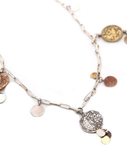 Silver Chain Coin Necklace