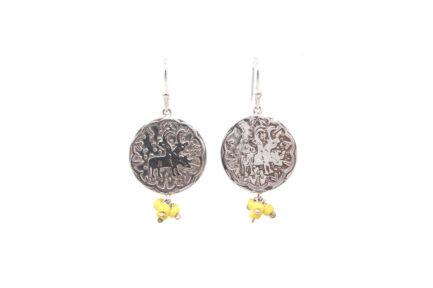 Single Coin Aghaaz Earrings (Yellow Glass Beads)