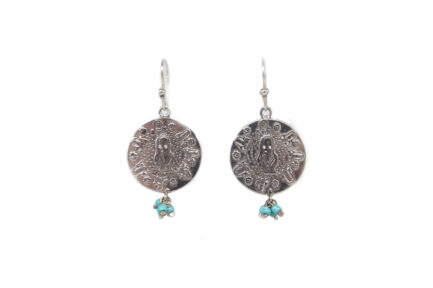 Single Coin Noor Earrings (Turquoise Glass Beads)