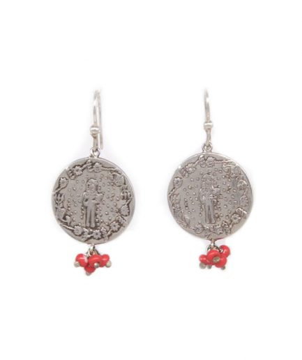 Single Coin Takhleeq Earrings (Red Glass Beads)
