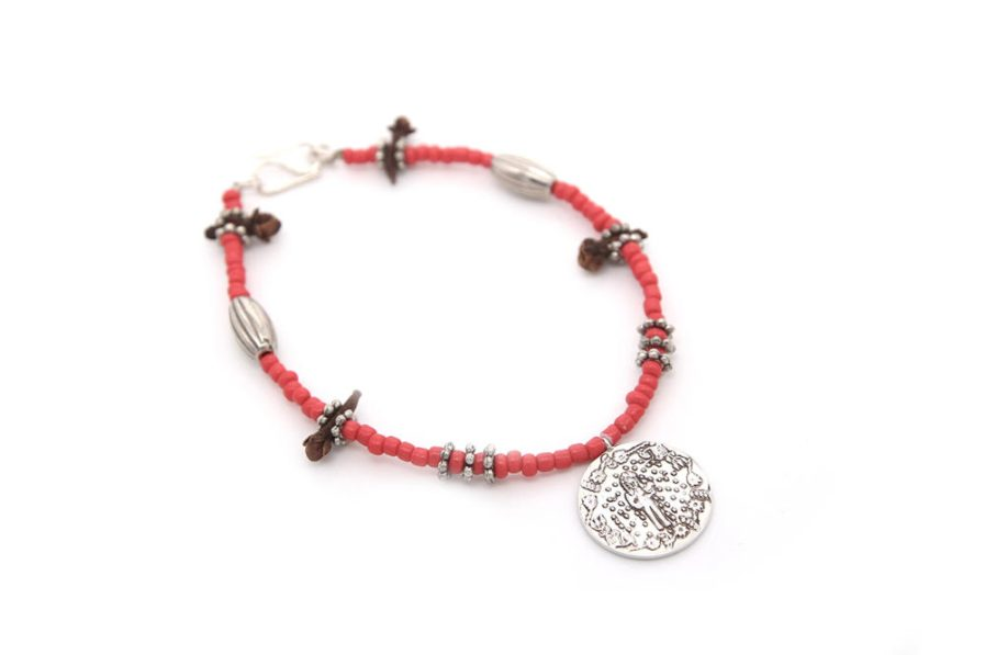 Single String Coin Bracelet With Red Beads