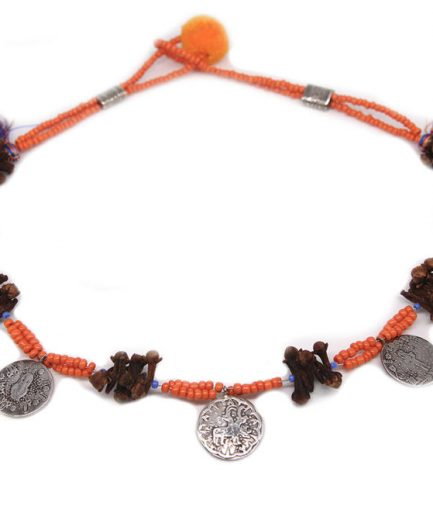 Three Coins Multicolor Tassel Necklace