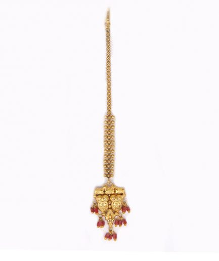 Yasmeen Gold Plated Tikka With Chain And Coral Beads