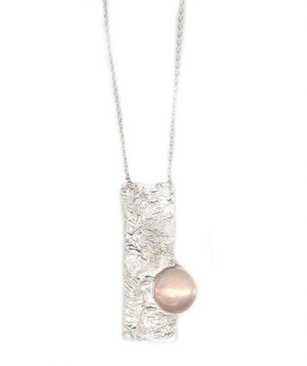 Reticulation and Rose Quartz Necklace