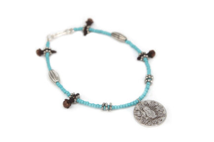 Single String Coin Bracelet With Turquoise Beads
