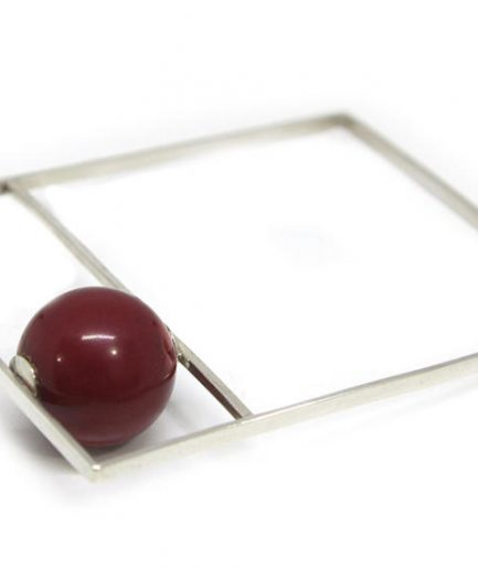 Square Box Bangle With Coral Bead