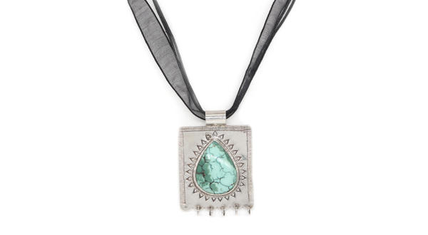 Etched Taweez With Turquoise
