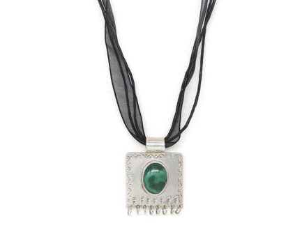 Square Etched Taweez With Malachite
