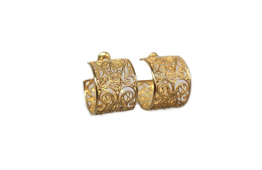 Small Filigree Posts Hoops (Gold Plated)