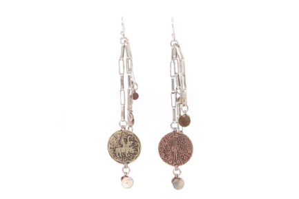 Silver Chain Coins Earrings