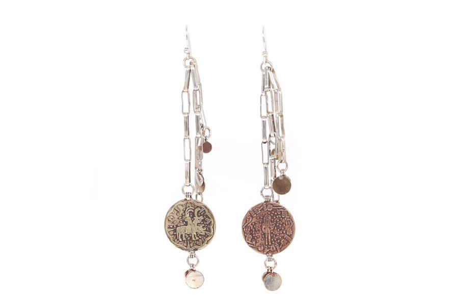 Silver Chain Coins Earrings