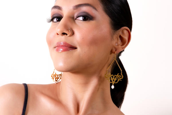 Cutout Earrings With Hanging Pearl