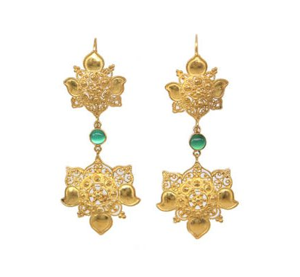 Filigree Lotuses With Agate Gold Plated