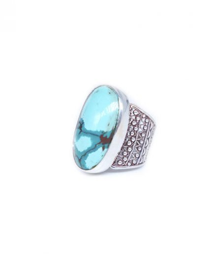 Oval Turquoise With Filigree Band