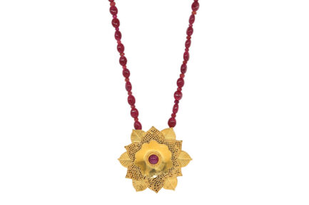 Granulation Flower With Ruby String