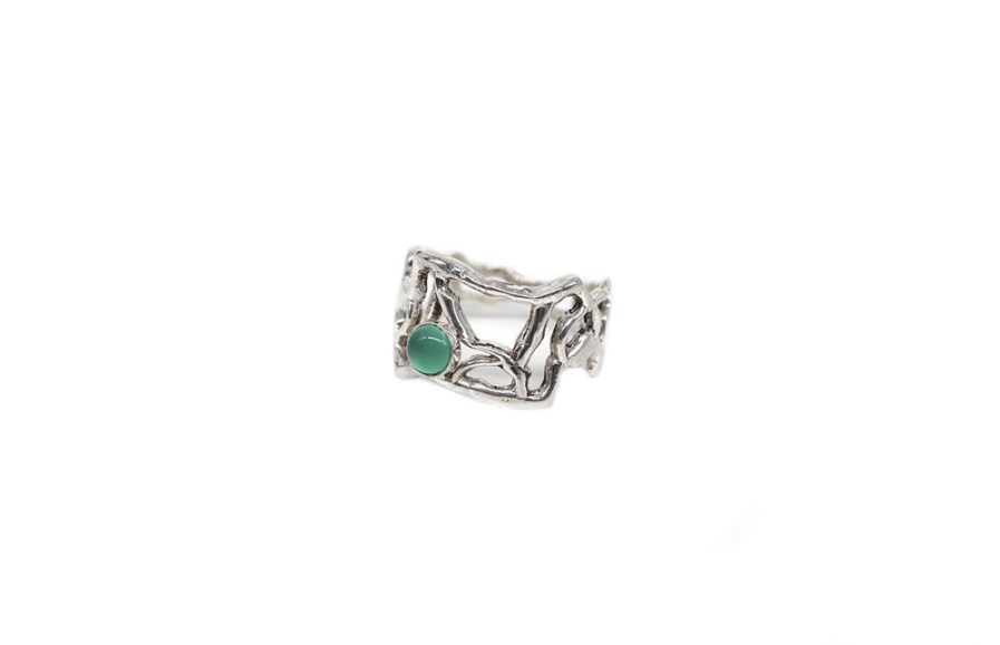 Organic Ring With Green Agate