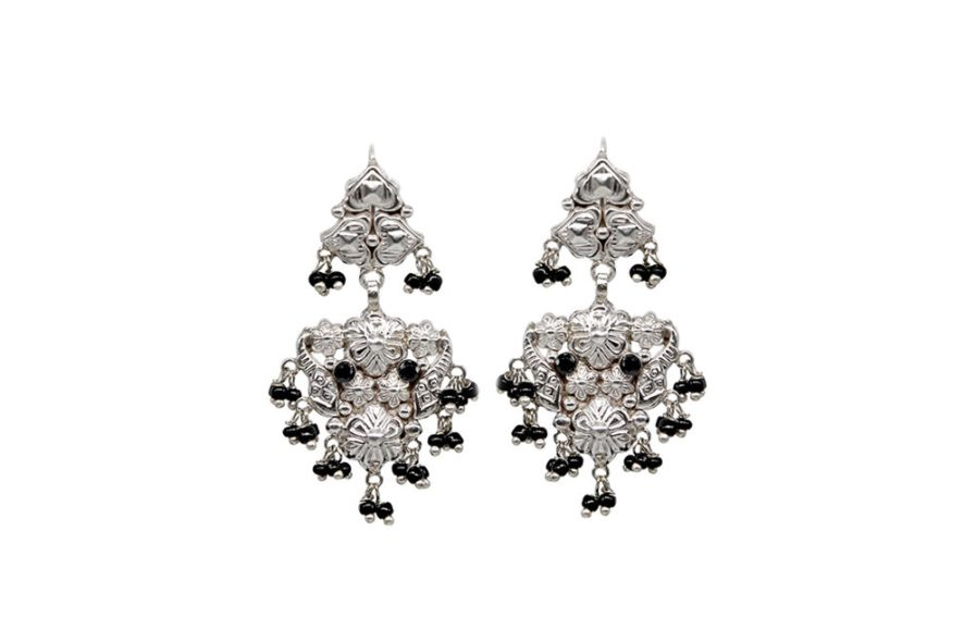 Yasmeen Double Layer Earrings With Black Glass Beads