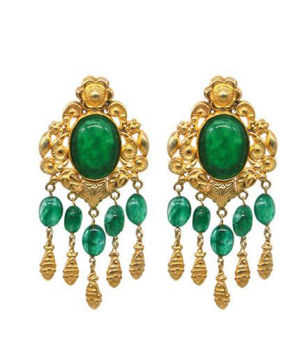 Yasmeen Green Agate Earrings