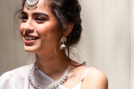 Yasmeen Jhumka With Lapizlazuli  Beads