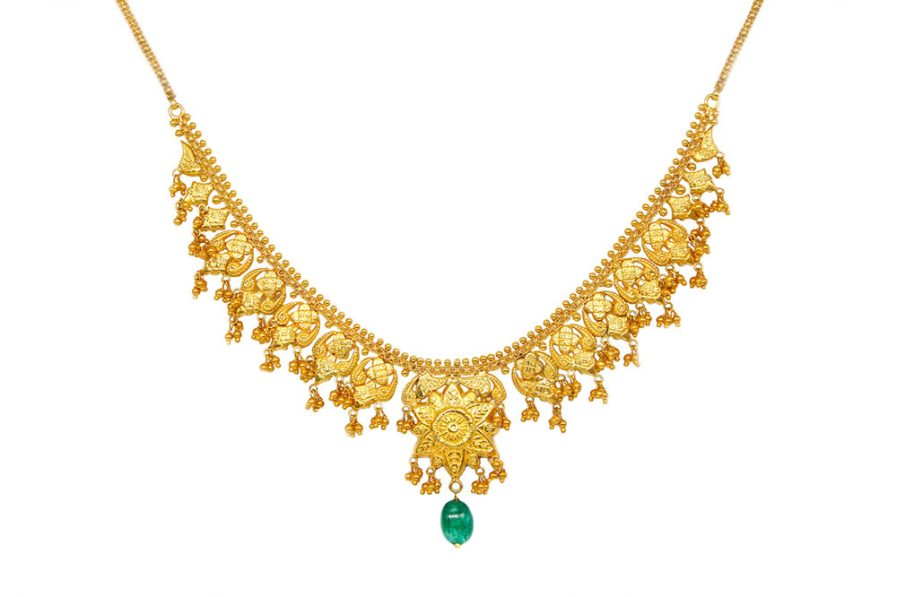 Yasmeen Single Layer With Hanging Agate Gold Plated