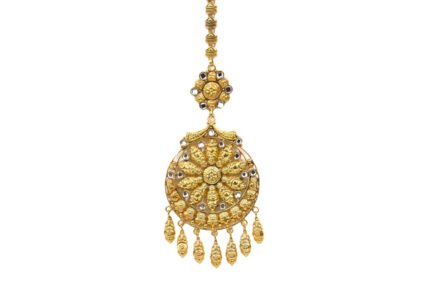 Yasmeen Tikka With Kundan Glass and Hanging Leaves-Gold Plated