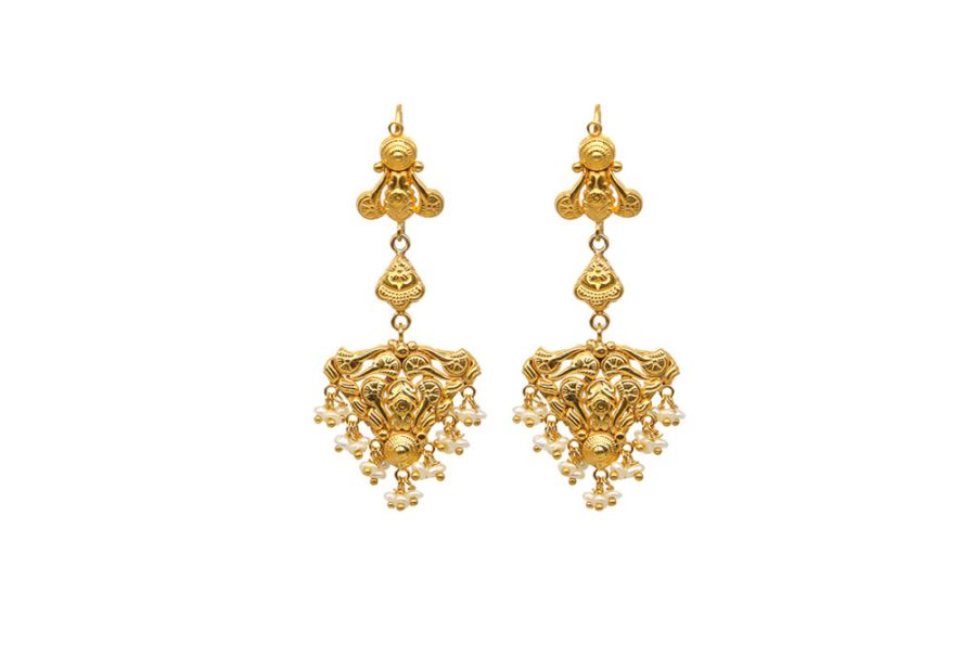 Yasmeen With Hanging Pearls Gold Plated
