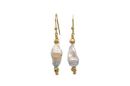 Irregular Pearl Earrings Gold Plated 1