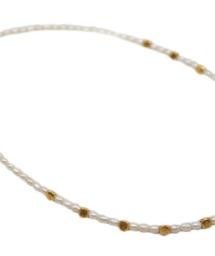 Pearl String With Gold Plated Beads