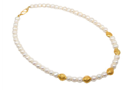 Pearl String With Gold Plated Carved Beads